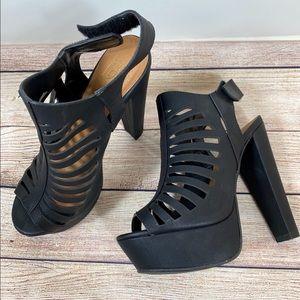 Nubuck Peep Toe Caged Platform Chunky Heel Sandals